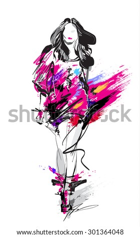 Hand-drawn fashion model. Woman. Sketch - stock vector