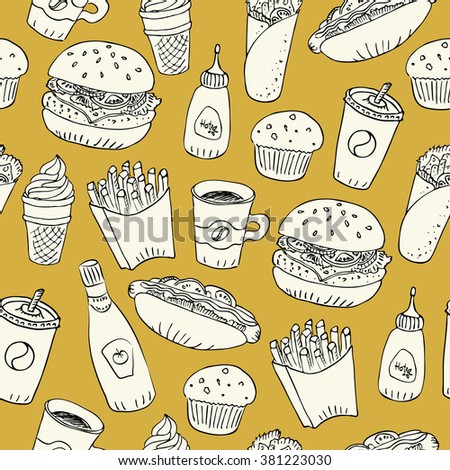 Hand drawn fast food doodle seamless pattern. Papercut with black outline design on yellow background. Hot dog, burger, fries, soda, coffee and dessert for menu and web design.