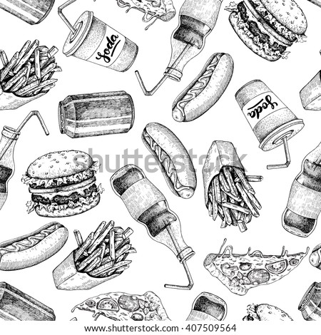 Hand drawn fast food pattern. Junk food and soda drinks background. Burger, pizza, hot dog, french fries and soda detailed illustrations. Great for restaurant menu or banner - stock vector