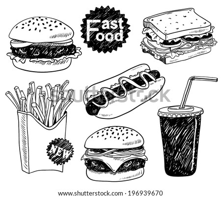 hand-drawn fast food set