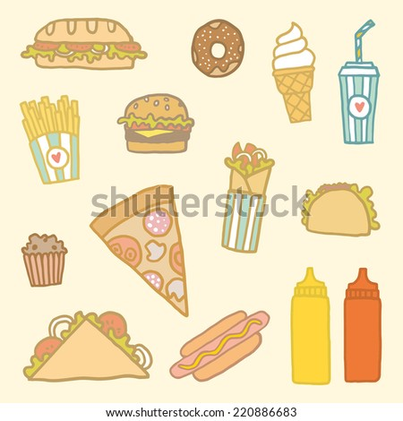 Hand drawn fast-food set