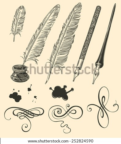 Hand drawn feathers and curls isolated on color background .8 EPS - stock vector