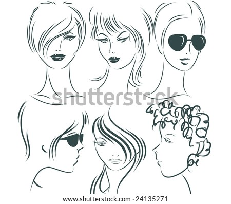 Hand-drawn female portraits - stock vector