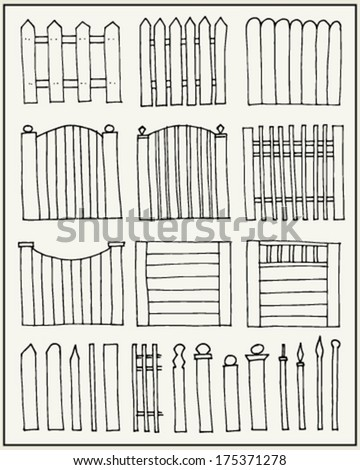 Hand drawn fences and poles - stock vector