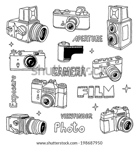 Hand drawn film photo cameras set. Vector illustration. - stock vector