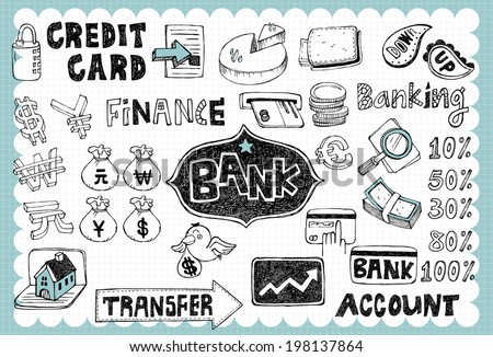 Hand drawn finance bank A - stock vector