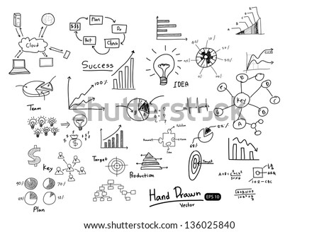 Hand drawn  finance chart and graph, Vector illustration. - stock vector