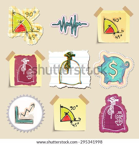 Hand drawn finance emblems set. Isolated. Stickers