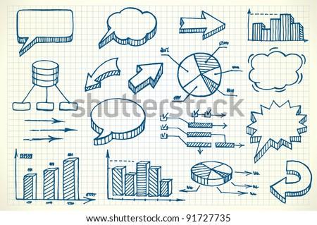 Hand-drawn finance illustration - stock vector