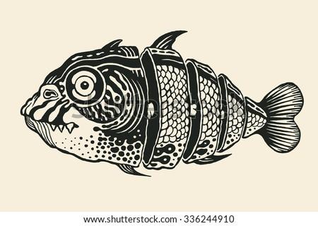 Hand drawn fish cut into slices, design element. vector illustration. - stock vector