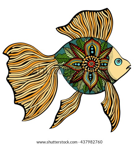 Hand Drawn Fish. doodle vector illustration isolated on white background. Sketch for tattoo or makhenda. Sea food collection.
