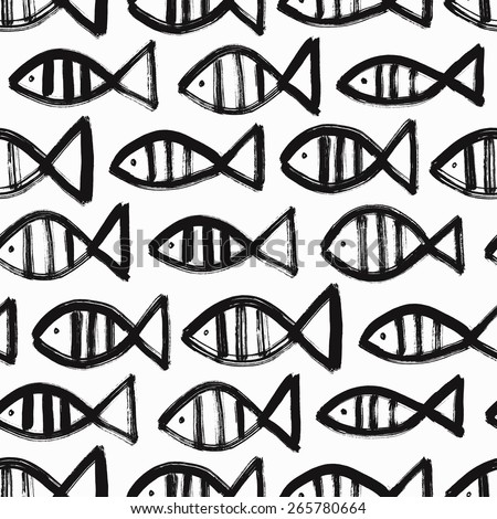 Hand drawn fish seamless background. Vector illustration. - stock vector