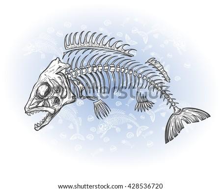 hand drawn fish skeleton sketch, vector illustration - stock vector