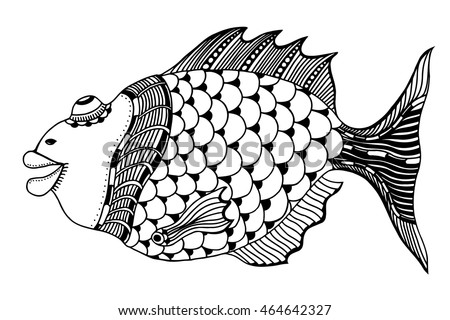 hand drawn fish, vector doodle illustration. Motive of sea life