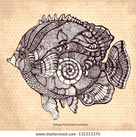 Hand drawn fish with elements of a flower ornament - stock vector