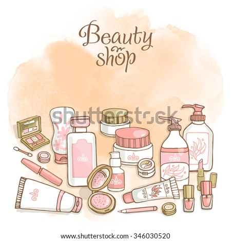 Hand drawn flayers template for make-up products. Doodle cosmetics background for corporate identity beauty shop. Printed materials for brochures, folder, flayers, banners. - stock vector