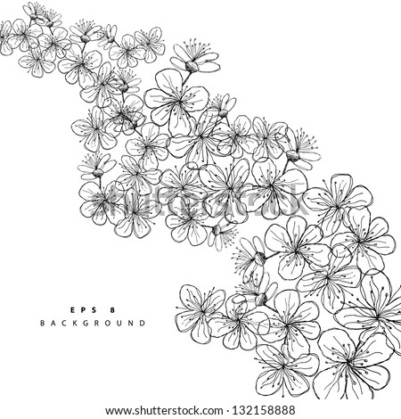 Hand-drawn Floral Background. EPS 8 vector, grouped for easy editing. No open shapes or paths. - stock vector