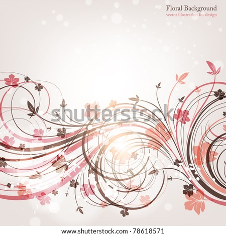 Hand Drawn floral background with flowers, greeting vector card for retro design. eps 10 - stock vector