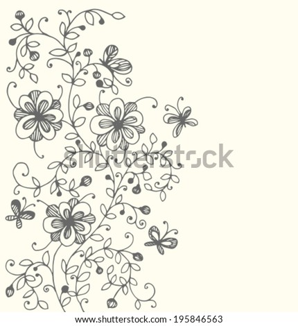 Hand drawn floral background with space for text