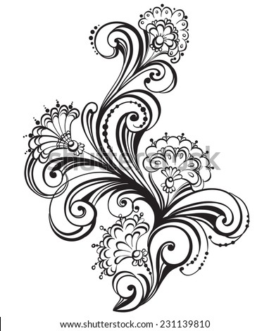 Hand drawn floral black and white Design Elements. Vector Illustration - stock vector