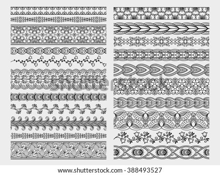 Hand drawn floral borders. Doodle vector borders set