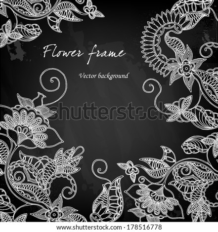 Hand drawn floral chalkboard background - stock vector