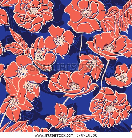 Hand-drawn floral  elegant wallpaper, Seamless pattern. Pink Colored flowers on Blue  background