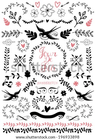 Hand drawn floral element - stock vector