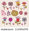 Hand Drawn floral elements. Set of flowers. - stock vector