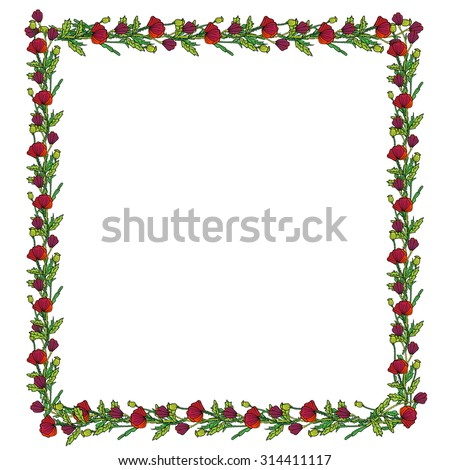 Hand drawn floral frame, a square made from poppy flowers and leaves. Could be used as an invitation, greeting card or label template.