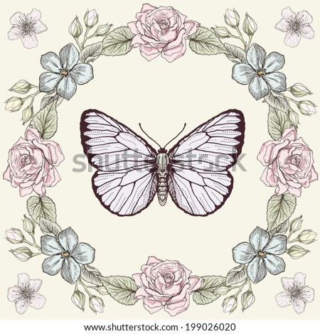 Hand drawn floral frame and butterfly. Colorful illustration. Vintage engraving style - stock vector