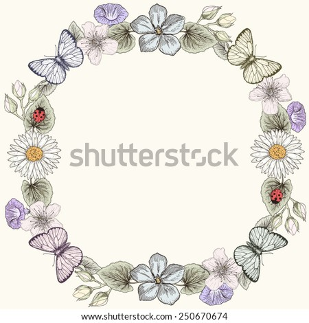 Hand drawn floral frame card with butterflies and wildflowers. Colorful illustration. Vintage engraving style - stock vector