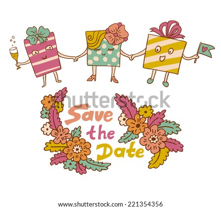 Handdrawn Floral Frames Gifts Wedding Design Stock Vector HD ...
