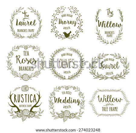 Hand Drawn floral frames in rustic style for any occasion, vector illustration. - stock vector