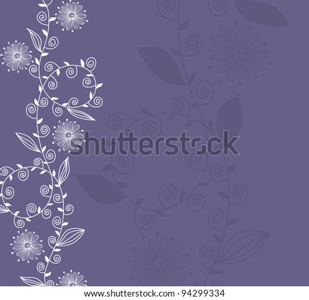 hand drawn floral invitation for life events with place for text, in blue white colors - stock vector