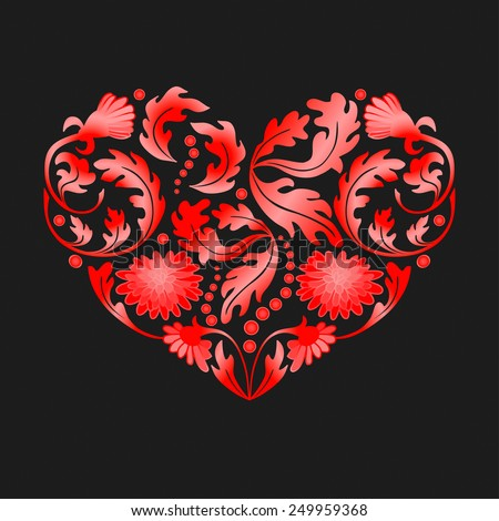 Hand drawn floral items in a shape of heart on black background.
