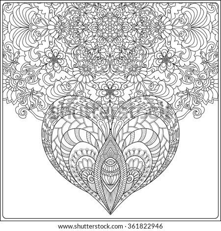 Hand Drawn Floral Mandala And Decorative Love Heart For Valentines Day Vector IllustrationColoring