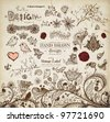 Hand Drawn floral ornaments with flowers and birds | Love elements | Engraving tree and flowers for spring and summer design | Vintage Labels - stock photo