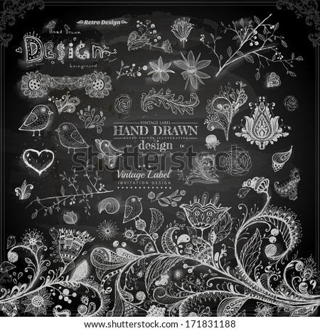 Hand Drawn floral ornaments with flowers and birds | Love elements | Engraving tree and flowers for spring and summer design | Vintage Labels | Chalkboard illustration variant - stock vector