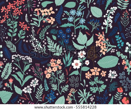 Hand drawn Floral pattern. Seamless vector texture. Elegant template for fashion prints. Surface with meadow flowers and herbs. Dark violet background