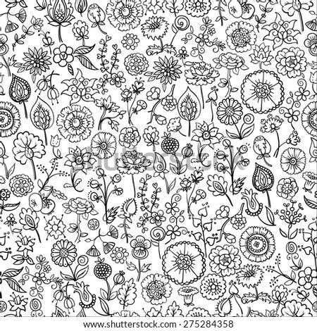 hand drawn floral seamless background, vector illustration - stock vector