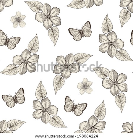 Hand drawn floral seamless pattern with butterflies. Vintage engraving style - stock vector