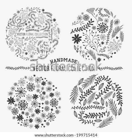 Hand Drawn Floral Set. Handmade collection of flower and plant decorations. Vector illustration. - stock vector