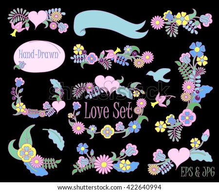 Hand-drawn floral set vector clipart on black background, hand-drawn flower design for wedding, flower wreath for love letters, hand-drawn wreath, hand-drawn flower frame, floral frame, wedding frame - stock vector