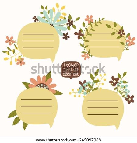 Hand-drawn floral speech bubbles illustration - stock vector