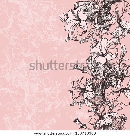 Hand drawn floral vertical seamless border in retro style. Vertical endless backdrop - stock vector