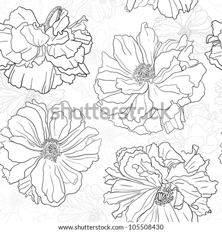Hand drawn floral wallpaper Could be used as seamless wallpaper, textile, wrapping paper or background - stock vector
