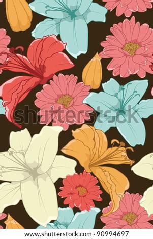 Hand Drawn Floral Wallpaper Retro Elegant Colored - stock vector