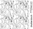 Hand drawn floral wallpaper with set of different flowers. Could be used as seamless wallpaper, textile, wrapping paper or background - stock vector