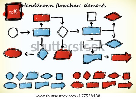 Hand-drawn flowchart elements with blue and red colored parts - stock vector